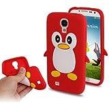Coque silicone cartoon Pingouin pour Samsung Galaxy S4 SIV i9500 rouge