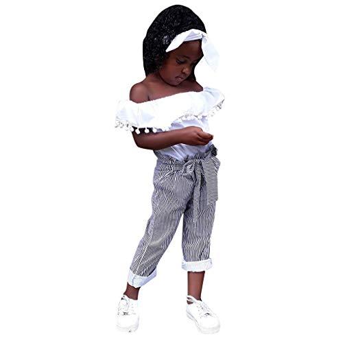 Tyoby Mädchen Quaste Wort Schulter Top + gestreifte Schleife Hosenanzug,Sommer Mode kinderkleidung(Weiß,100)