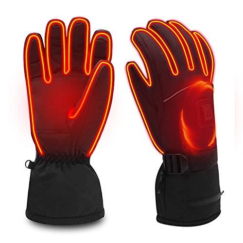 FLIUUK - Guanti riscaldati elettrici, per Moto, Equitazione, Caccia, Sci, Ciclismo, Riscaldamento a Batteria, Guanti Invernali Antivento