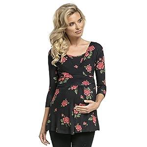 Zeta-Ville-Premam-Top-Camiseta-de-Lactancia-Efecto-2-en-1-para-Mujer-945c-Negro-Flores-EU-4042-XL