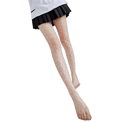 Strasssteine Fischnetz strümpfe Damen Xmansky Frauen elastische Oberschenkel Strumpfhosen (Khaki) (Fischnetz-strümpfe)