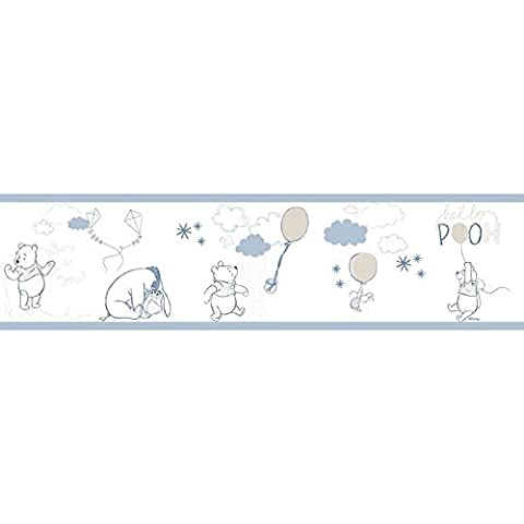 Self Adhesive Border Nurseries Blue White and Taupe in Glossy Paper Washable Winnie the Pooh Disney Fantasy Deco DANDINO wp3521–1.
