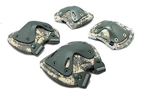 OWIKAR 4-in-1Anti-Impact Militärische Taktische CS-Knie- und Ellenbogenschoner Set, Jagen Paintball x-Type Knieschoner Displayschutzfolie für Extreme Sport, ACU Digital (Olive Kostüm Für Hunde)