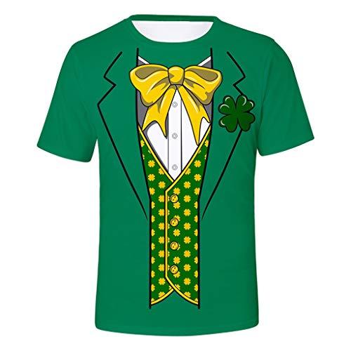 Mymyguoe 3D Druckn Kurzarm T-Shirt Paar Damen Herren Unisex fur St. Patrick´s Day Costume Grün Graffiti Gedruckt Sommer Lässiges Basic Tee O-Neck Ausschnitt Classics Oberteile Tunika ()