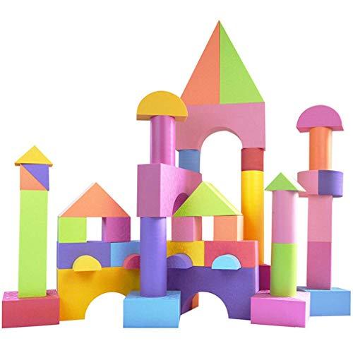 usteine, Spielzeug für Mädchen und Jungen, Ideale Blöcke/Bauspielzeug für Kleinkinder, Hohe Qualität 52 Teile Verschiedene Formen und Größen, Wasserdicht, Helle Farben, 100% Sich ()