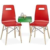 Relaxdays Chaises bois lot de 2 design ARVID salon salle à manger HxlxP: 92 x 43 x 40 cm style rétro moderne scandinave, rouge