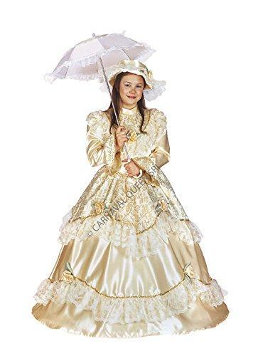 Costume maschera carnevale principessa dama dell'800 5 - 6 anni (misura spalla-terra 102 cm)