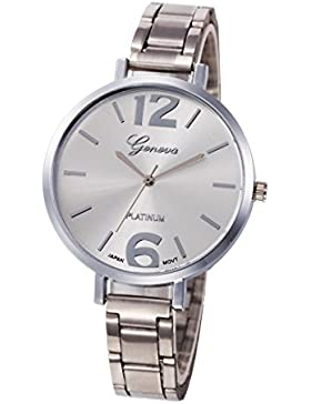 Malloom® elegant Frauen Art- und Weisefrauen Kristall Edelstahl-analoge Quarz-Armbanduhr (silber)