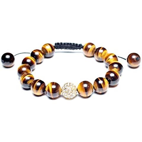 Bling Jewelry Ispirato Shamballa Bracelet Tiger Eye Beads Crystal Ball 12 millimetri