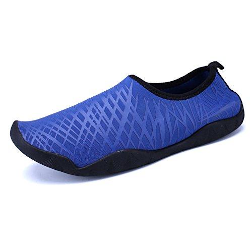 Eagsouni® Unisex Aquaschuhe Strandschuhe, schnelltrockene rutschfeste Schwimmschuhe Badeschuhe Wasserschuhe geeignet für Tauchen Schnorcheln Schwimmen, für Damen & Herren, Erwachsene & Kinder und Baby Dunkelblau