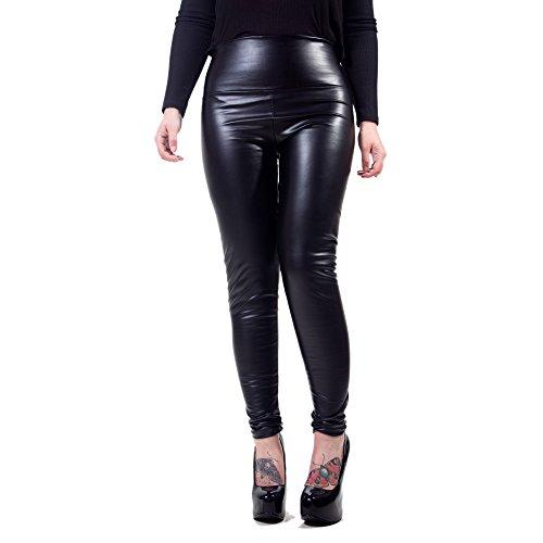 Glänzende Kunstleder (Rubberfashion Kunstleder Leggings, glänzende Kunst-Leder Leggin bis zur Taille für Frauen und Mädchen Menge: 1 Stück schwarz XL)