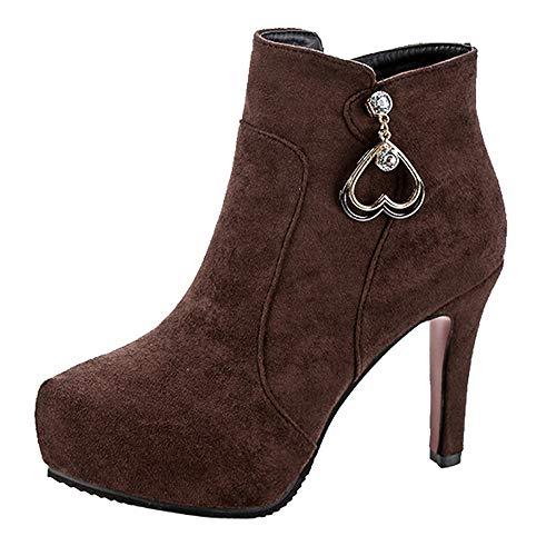 MYMYG Damen Kurzschaft Stiefeletten Chelsea Boots Frauen Ponited Toe Schuhe Wildleder Pure Color...
