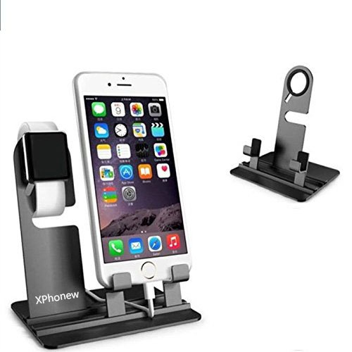 iPhone Charger Stand, XPhonew Aluminum Desktop Charging Docking Charger Dock Station Holder Stand for Apple Watch iWatch iPhone 7 Plus SE 6 6S Plus 5S 5C 4S All iPad Mobile Phone Tablet (Black)