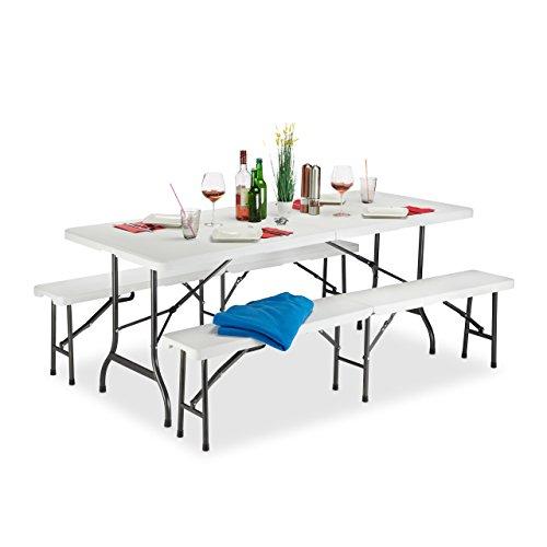 Relaxdays Bierzeltgarnitur klappba, 3er Gartenmöbel Set, Uni, H x B x T: 74 x 180 x 74,5 cm, weiß