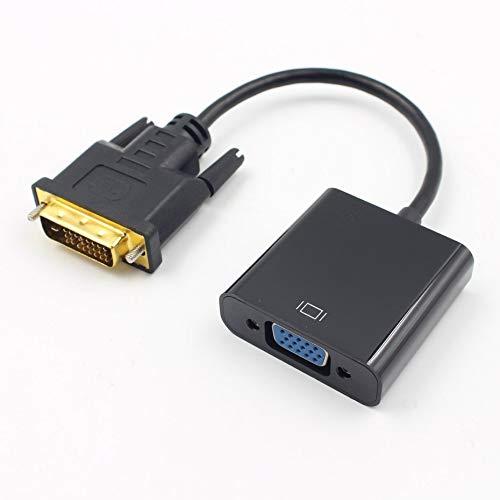 DVI-auf-VGA-Adapter-Kabel 1080p DVI-D-auf-VGA-Kabel 24 + 1 25 Pin DVI-Stecker auf 15 Pin VGA Buchse Video Converter für PC-Anzeige - schwarz