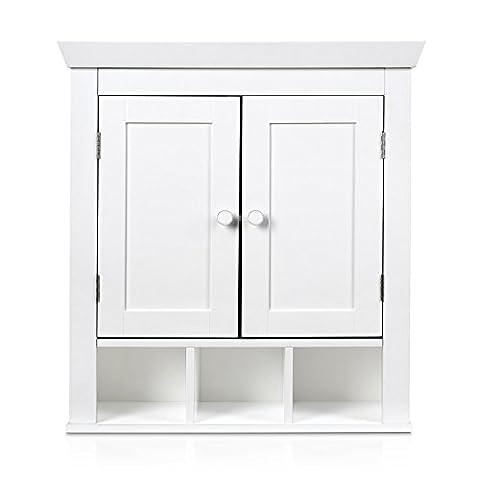 HOMFA Landhaus Hängeschrank Wandschrank Badschrank Küchenschrank Medizinschrank Wandboard Regal Weiß