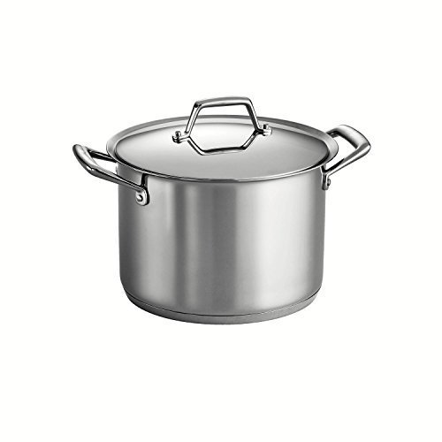 Tramontina Prima 12 Quart 18/10 Stainless Steel Tri-Ply Base Covered Stock Pot by Tramontina 12 Qt Tri-ply