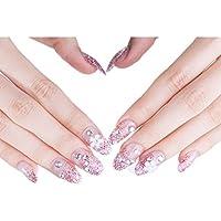 24 unidades romántica White Floral larga Artificial falsa brillantes clavos parpadeo Powder Nails Decor