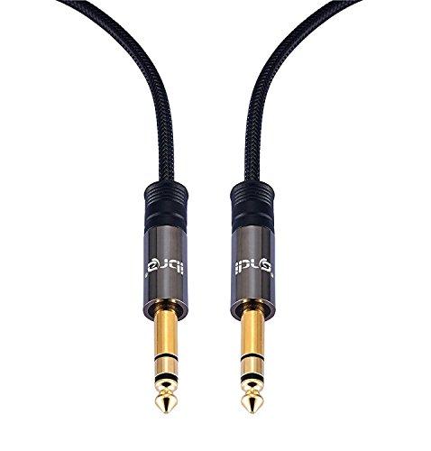 IBRA 6.35mm Audio Kabel Stereo Aux Kilnkenkabel auf 6.35mm Klinkenstecker, Unterstützt für Gitarre, elektronisches Klavier, Bassverstärker 0,5 m , Gunmetal