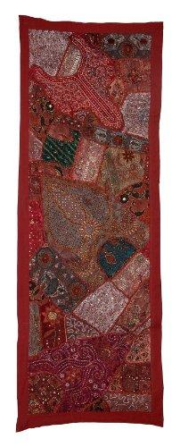 Bettwäsche Indien Direct Home Dekorative Wandbehang Wandteppich mit anmutigen Pailletten, Perlen, Spiegel, Zari & Old Sari Patchwork, 152 x 51 Cm