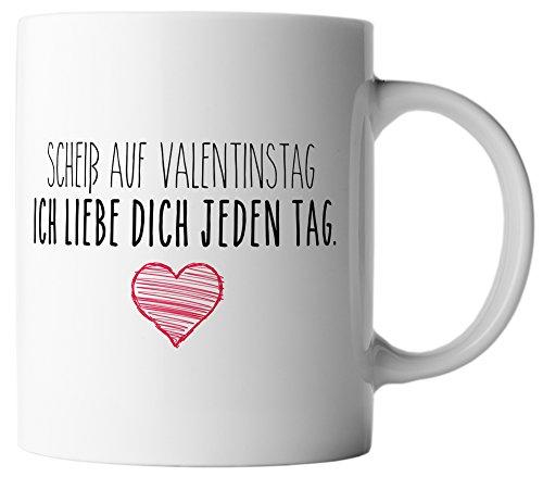 vanVerden Tasse Scheiß auf Valentinstag, ich liebe dich jeden Tag. inkl. Geschenkkarte, Farbe:Weiß/Bunt