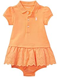 f25c95725 RALPH LAUREN Baby Girls Eyelet Polo Dress & Bloomer (Fair Orange 18 Months)