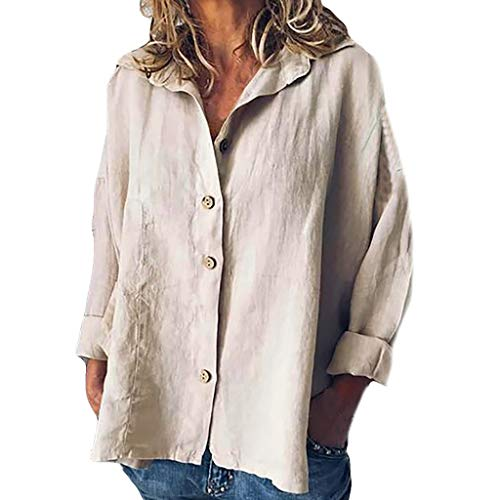 iYmitz 3/4-Arm Damen Streetwear Einfarbig Rundausschnitt Leinen Frauen Freizeit Bluse Sommer Freizeithemd(Z5-Khaki,EU-38/CN-M)