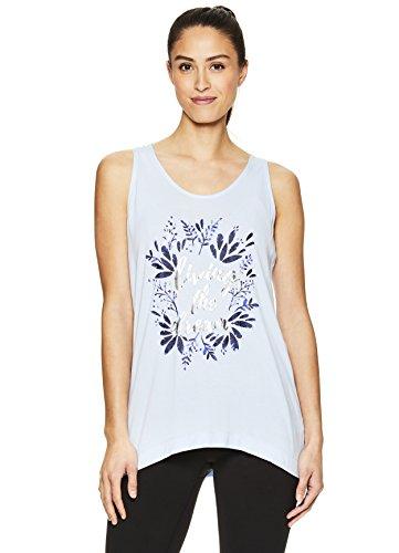 Gaiam Damen Graphic Active Crew Neck Tank Top - Yoga Shirt für Frauen - Blau - Mittel -