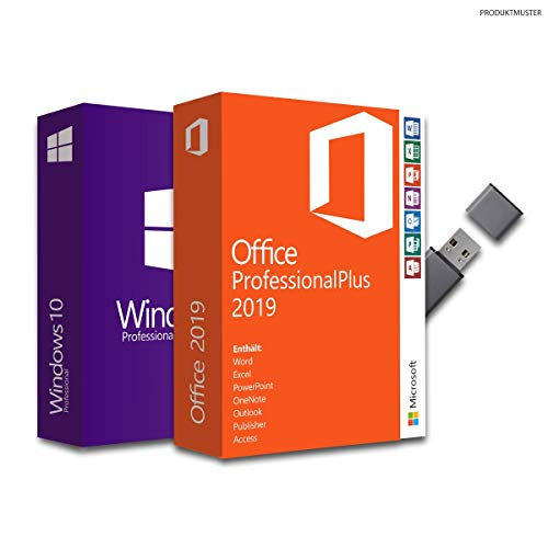 Windows 10 Pro + Office Professional Plus 2019, Bundle von Softwareunion mit USB-Stick