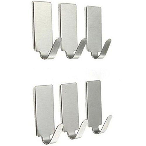 Distinct® 6pcs/set Kleber-Küche-Wand-Tür-Haken-Edelstahl-Aufkleber-Halter (Mdc-aufkleber)