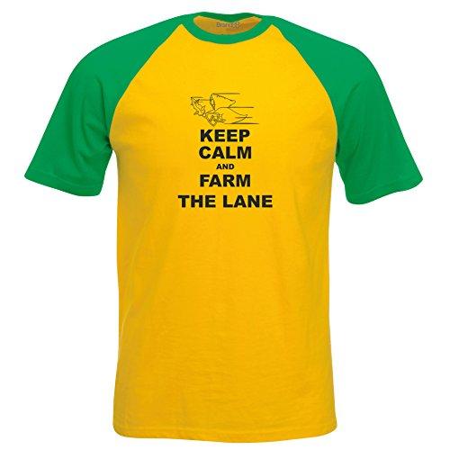 Keep Calm and Farm the Lane, Kurzarm Baseball T-Shirt - Gelb & Gruen XL (111-116 cm) (Farm T-shirt Gelb)
