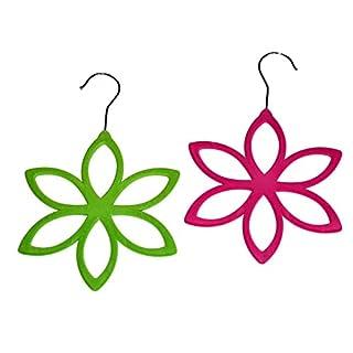 2 Stück Schalhalter, Tuchhalter,Gürtelhalter, Accessoires Kleider Bügel Blume Dress Schalaufbewahrer,Organizer von all-around24 (Pink + Grün)