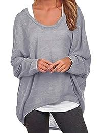 a20c0f198d72 ZANZEA Women Loose Solid Irregular Long Sleeve Baggy Jumper Casual Tops  Blouse T-Shirt