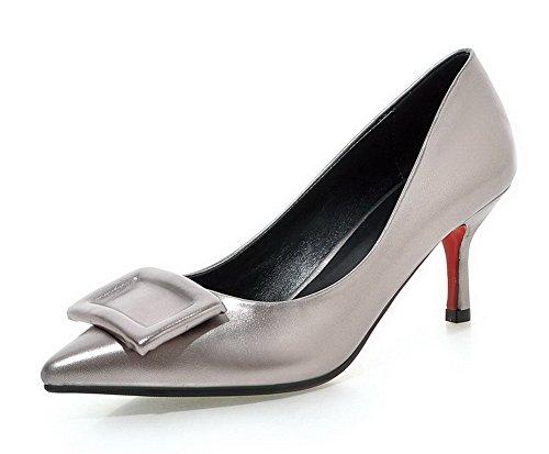 AgooLar Femme Pointu à Talon Correct Matière Souple Couleur Unie Tire Chaussures Légeres Gris