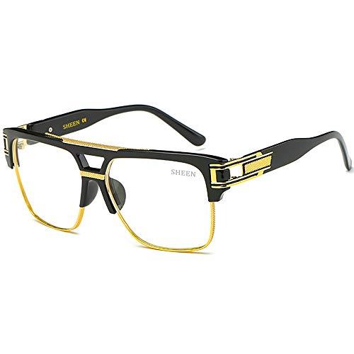 SHEEN KELLY Große Retro Sonnenbrille Square Piloten Brille Herren Damen Spiegel Linsen Luxus Eyewear Schwarz Hälfte Rahmen Metall Gold UV400 Oversized