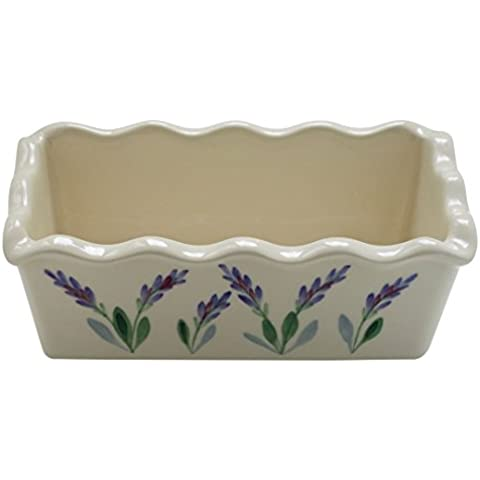 Large 8 Inch Ceramic Deep Bread Loaf Baking Pan with Scalloped Edges and Decorative Hand Painted Lavender Design by Arousing Appetites