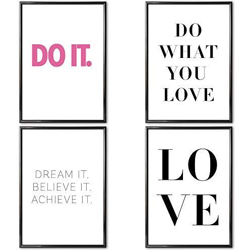 VERSCHIEDENE Poster Set 's » Motivation II « 4 x DIN A4 auch mit Bilderrahmen | Bilder und Motivierende Sprüche für Büro | Kunstdruck, Wandbild, Bild mit Spruch für Arbeitszimmer mit Rahmen