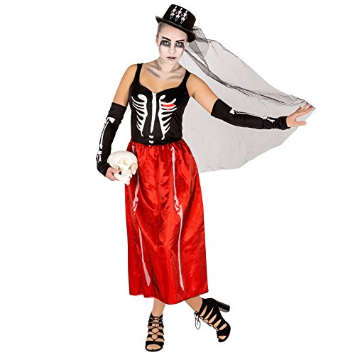 Costume da donna - Skeleton | 2 lunghi guanti a manicotto con sovrastampa | Cappello a cilindro con tulle (L | no. 300092)
