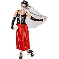 Costume da donna - Skeleton | 2 lunghi guanti a manicotto con sovrastampa | Cappello a cilindro con tulle (S | no. 300090)