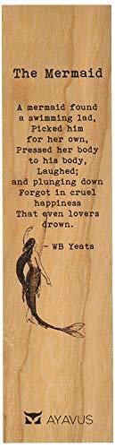 XIAOL Home Die Meerjungfrau Gedicht - William Butler Yeats - Holz Lesezeichen Zitate Geschenk für Leser Dichter Schriftsteller Schwimmen Lad Lovers Happiness