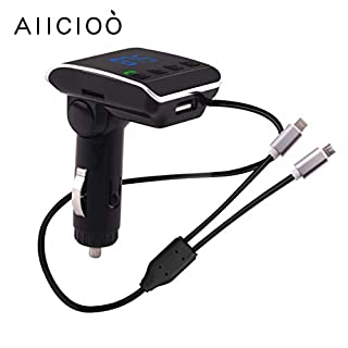 AIICIOO Car FM Transmitter Bluetooth Kit Wireless Hands Free Car Radio Audio Adapter MP3 Music Receiver with Dual USB Chargers for iPhone/Android Supports USB Flash Disk/Micro SD/TF Card