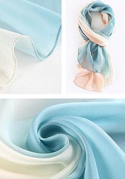 WZTP Foulard Femme en Soie Echarpe Chale Longue Élégant Dégradé Couleur 180x70cm Meilleur cadeau pour Lady