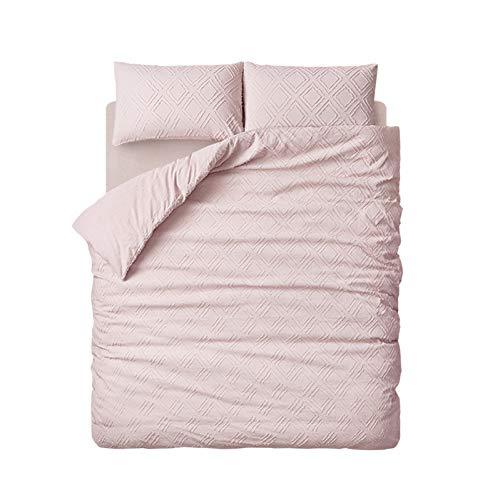 Doppelte Bettwäsche Schlafzimmer Bettbezug - 100% gewaschene Baumwolle einfarbig gefärbt dreidimensionale quadratische reversible Bettwäsche Tröster-Set, hautfreundliche 4 Stück Set,Pink_Full Size -