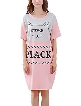 Pigiama Donna Taglie Forti Estivi Girocollo Manica Corta Elegante Vestiti Pigiami Comfort Homewear Stampa Da Notte...