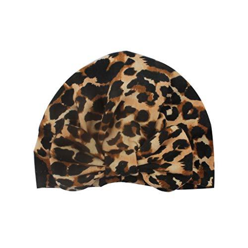 Rryilong Baby Mütze Neugeborene Elastisches Gewebe Turban Kleinkind Stirnbänder Baby Kleiner Stirnband,Leopard Cap Kleine Mädchen Leopard