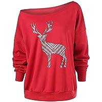 LEvifun Frauen Gedruckt Pullover Brief Fröhliche Weihnachten Christmas Langarm Sweatshirt Tops Bluse Shirt Oberteile Jumper Streewear