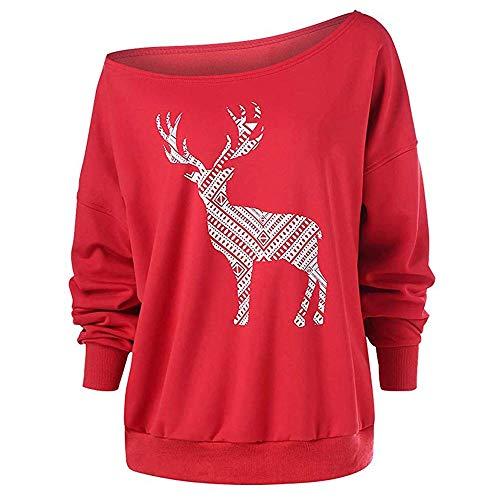 Weihnachtspullover Damen, Elecenty Frauen Schulterfrei Drucken Sweatshirt Pullover Schrägkragen Oberteile Langarmshirts Pulli