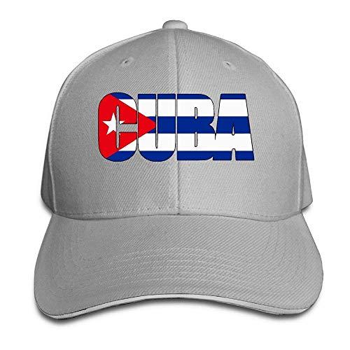 MACITA Premium Men Women Baseball Cap, Cuba Text Cuba Flag Adult Adjustable Snapback Hats Dad Hat Womens Plain Front Chino