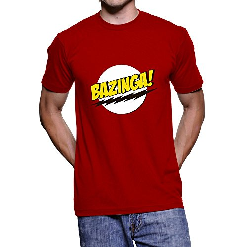 Fanideaz Branded Round Neck Cotton Bazinga Big Bang Theory T Shirt for Men_Red_L