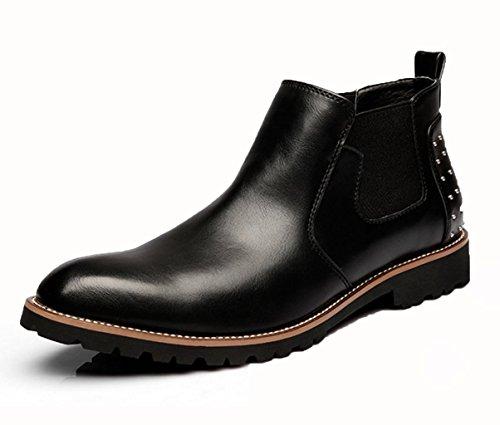 WZG les hommes en cuir sculpté nouvelles bottes hommes bottes bottes affaires costumes chaussures haut-dessus Black
